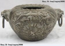 Old Chinese Palace Bronze Copper 2 Dragon Play Bead Lion ear Head Pot Jar Crock