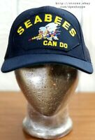 """US Navy USNCB """"Seabees Can Do"""" Blue Snapback Hat Cap By Eagle Crest USA"""