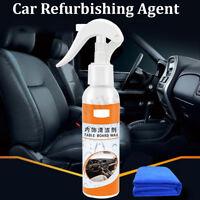 120ml Magic Car Interior Coating Polish Cleaner Leather Removes Dirt + Towel