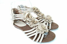 Women's Round Flower Sandals- Buckled Ankle Strap shoes, LOW Wedge Heel  BEIGE