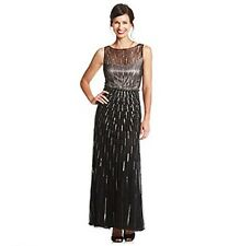 Mother Bride Elegant Jkara Beaded Black Chiffon Illusion Formal Evening Gown 14