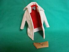 Vintage Barbie White Leather Coat Red Lining with Tan Clutch Purse