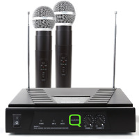 QWM11 VHF Wireless Radio Microphone System Twin Hand Held Mics DJ Disco KWM11