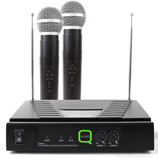 QWM11 VHF Wireless Radio Microphone System Twin Hand Held Mics DJ Disco KWM11