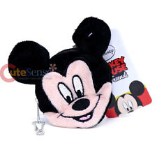 Disney Mickey Mouse Face Plush Coin Wallet Round Mini Purse Key Chain