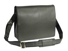 Mens Messenger BLACK Leather Bag VINTAGE Laptop Office Uni Casual Record Bag NEW