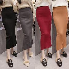 Autumn Women Sexy High Waist Back Split Slit Stretch Knit Bodycon Midi Skirts