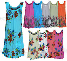 Ladies Summer 2018 Beach Floral Cotton Sleeveless Tunic Shift Mini Dress 12-18