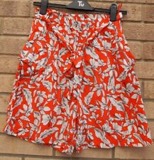 G21 ORANGE WHITE FLORAL BELTED ZIP POCKETS CULOTTES CROP CHINO SHORTS 10 S