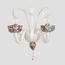Murrine colorate applique 2 luci in vetro di Murano