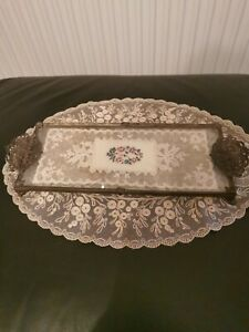 Rare Small Vintage Petit Point Vanity/Dressing Table Tray