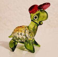 Glass Sea Turtle Figurine (Sea Turtle Figure with Red Hat)