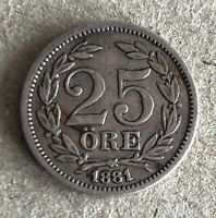 OSCAR II, Kingdom Of SWEDEN Silver 25 Ore 1881-EB, KM#739,  XF