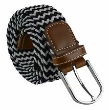 Unisex Mens Womens Boys Stretch Elastic Faux Leather White Black One Size Belt