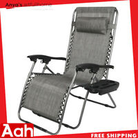 Oversize Zero Gravity Lounge Chair Adjustable Folable W/ Drink/Cellphone Holder
