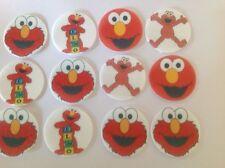 12 x 4cm Sesame Street Elmo Edible Cupcake Toppers - PRECUT