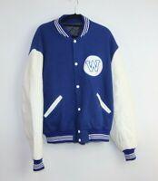 Hemisphere Men's Collage Style Varsity Blue White Jacket Size L