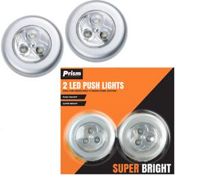 2 Push Touch Light Bright Tap Cupboard Lighting Stick On Kitchen Closet 3 LED