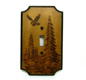 Wood Light Switch Cover Eagle Nature vintage rustic cabin kitsch home decor