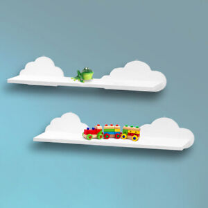 2x Floating White Wooden Cloud Shelves Children's Nursery Storage Novelty Unit