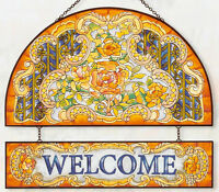 """TIFFANY ROSES AMBER * 12"""" WELCOME GLASS ART PANEL STAINED GLASS LOOK SUNCATCHER"""