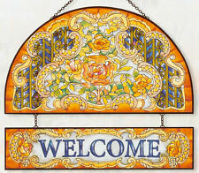 """MONARCH BUTTERFLY IRIS * 11x12"""" WELCOME BUTTERFLIES GLASS ART PANEL SUNCATCHER"""