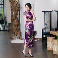 Chinese Summer Long Cheongsam Women Silk Satin Maxi Dress Ball Gown S-6XL