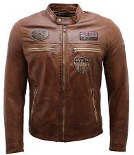 Men's Retro Badged Tan Racer Biker Jacket