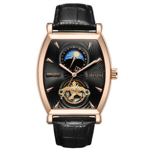 Mens Edison Automatic Watch Yellow Rose Gold Colour Moon Phase Dial RRP £600 🔥