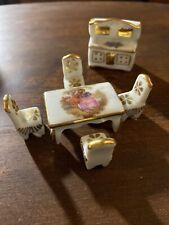 Vintage French Limoges Porcelain Minniture Dollhouse Furniture 6 Pieces