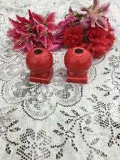 "FIESTA 2 NEW SCARLET red Round Candlestick Holders  3-5/8"" Fiestaware"