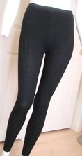NEW Ribbed Knit Leggings Black Size S Full Length Footless Cotton Blend Winter