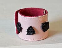 Rosa Leder Armband Schnapparmband mit Rosen One Size Shabby Gothic Lolita