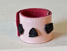 Rosa Leder Armband Schnapparmband mit Rosen One Size Shabby Klackarmband