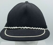 Vintage Black Blank Ricrack Rope Front Snapback Hat Cap Made in USA 5086fc9ddff