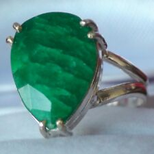LOVELY! 8.45 ct NATURAL GREEN EMERALD RING  925 STERLING SILVER. SIZE 6.25