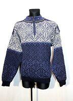 Vtg CHRISTIANIA Mens Knit Jumper Cardigan Blue Pure Wool Fair isle Nordic Sz XL