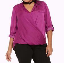 Torrid Satin Surplice Blouse Purple 0X Large 12 0 #43265