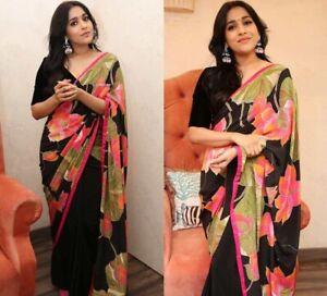 Floral Printed Saree Crepe Silk Georgette Light Weight Party Wear Designer Sari