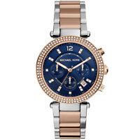 Michael Kors MK6141 Parker Blue Dial Silver Rose Gold Watch RRP £229