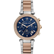 Michael Kors MK6141 Parker Blue Dial Silver Rose Gold Watch RRP £229