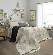 Lucinda Grey 100% Cotton Jacquard Muslin Bedspread Coverlet Bedcover set - K/Q