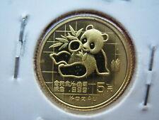 China 1989, WWF Panda 5 Yuan 1/20oz Gold, UNC (10089)