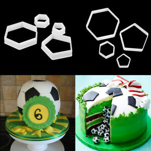 4Pcs Football Icing Cutter Mould Cake Sugar Cookie Fondant Mold Sugarcraft Decor
