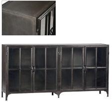 Industrial Metal Gunmetal Sheet Steel  w/Glass Doors Sideboard,72'' x 36''H.