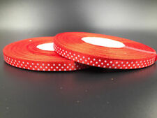 "10 Y 3/8"" 10mm  Polka Dot Ribbon Satin Craft Supplies crafts red color"