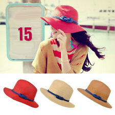 IG_ ALS_ Women Ladies Summer Wide Brim Straw Hat Floppy Beach Sun Foldable Cap N
