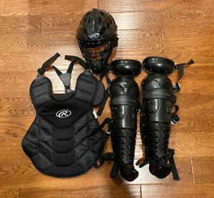 Baseball Rawlings Catchers Gear Chest Protector Shin Guards, Helmet CFA1JP & Bag
