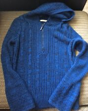 DKNY Hooded Pullover knit sweater size S --blue/black