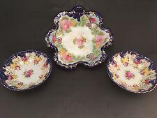 Three [3] Piece Set Nippon Meiji Kutani Leaf Shape Bowls Moriage